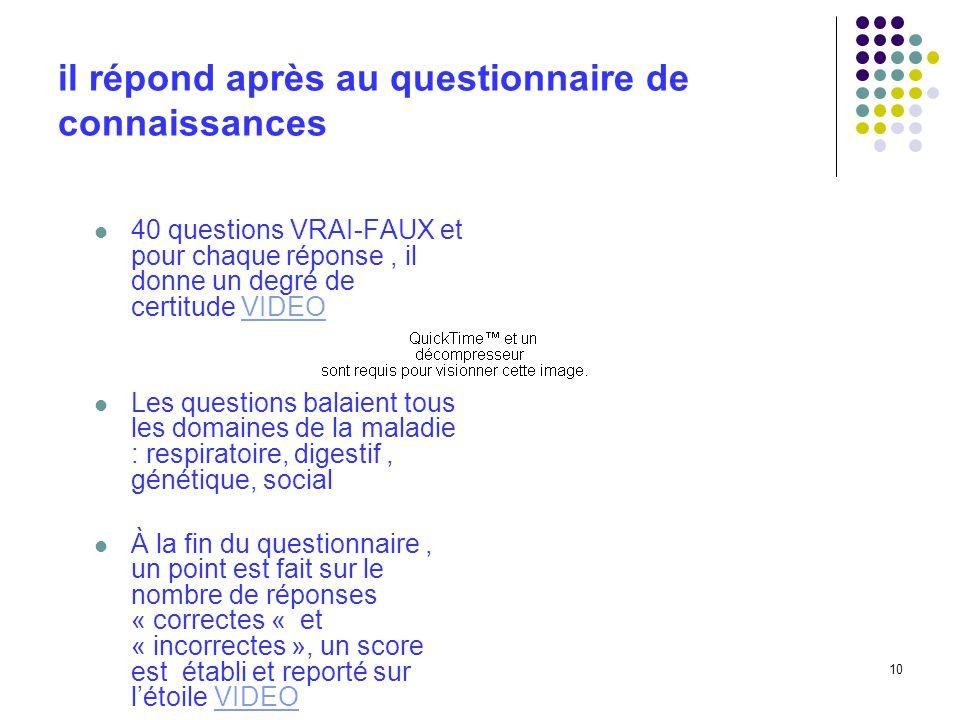 10 il répond après au questionnaire de connaissances 40 questions VRAI-FAUX et pour chaque réponse, il donne un degré de certitude VIDEOVIDEO Les ques