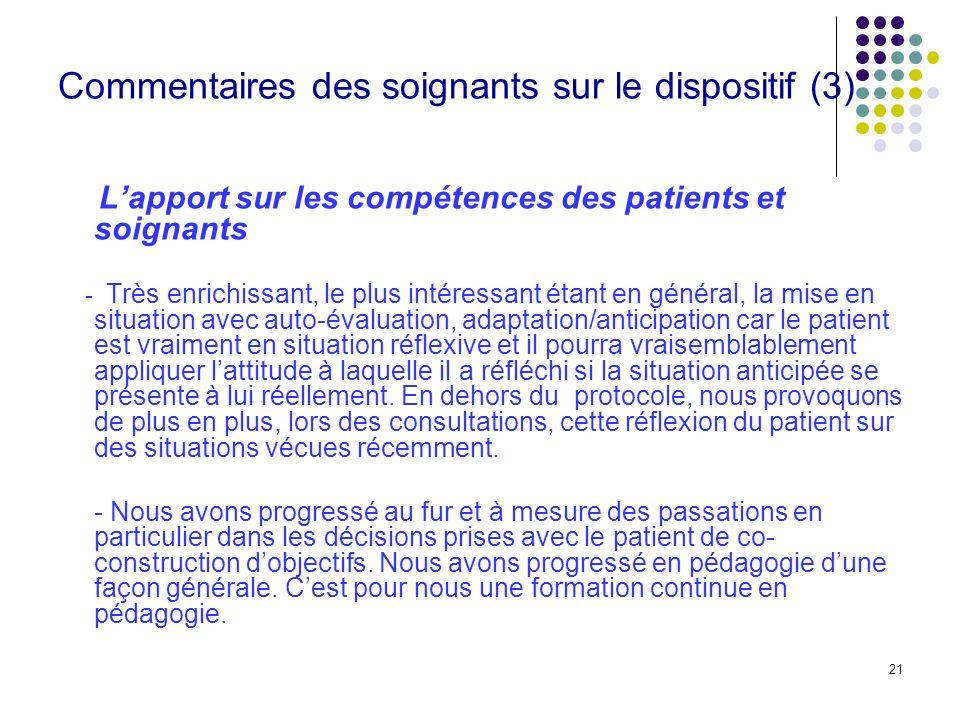 21 Commentaires des soignants sur le dispositif (3) Lapport sur les compétences des patients et soignants - Très enrichissant, le plus intéressant éta