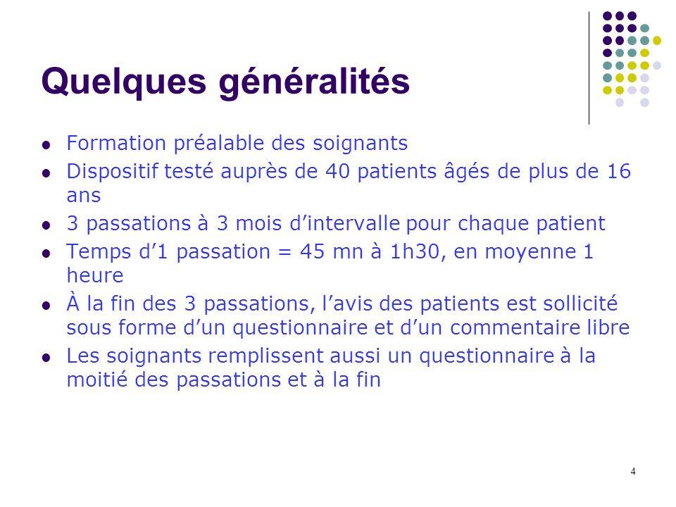 4 Quelques généralités Formation préalable des soignants Dispositif testé auprès de 40 patients âgés de plus de 16 ans 3 passations à 3 mois dinterval