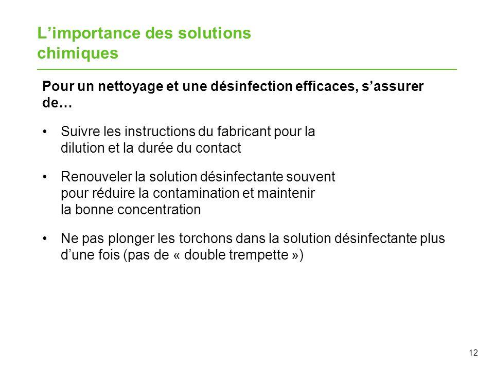 12 Limportance des solutions chimiques Pour un nettoyage et une désinfection efficaces, sassurer de… Suivre les instructions du fabricant pour la dilu