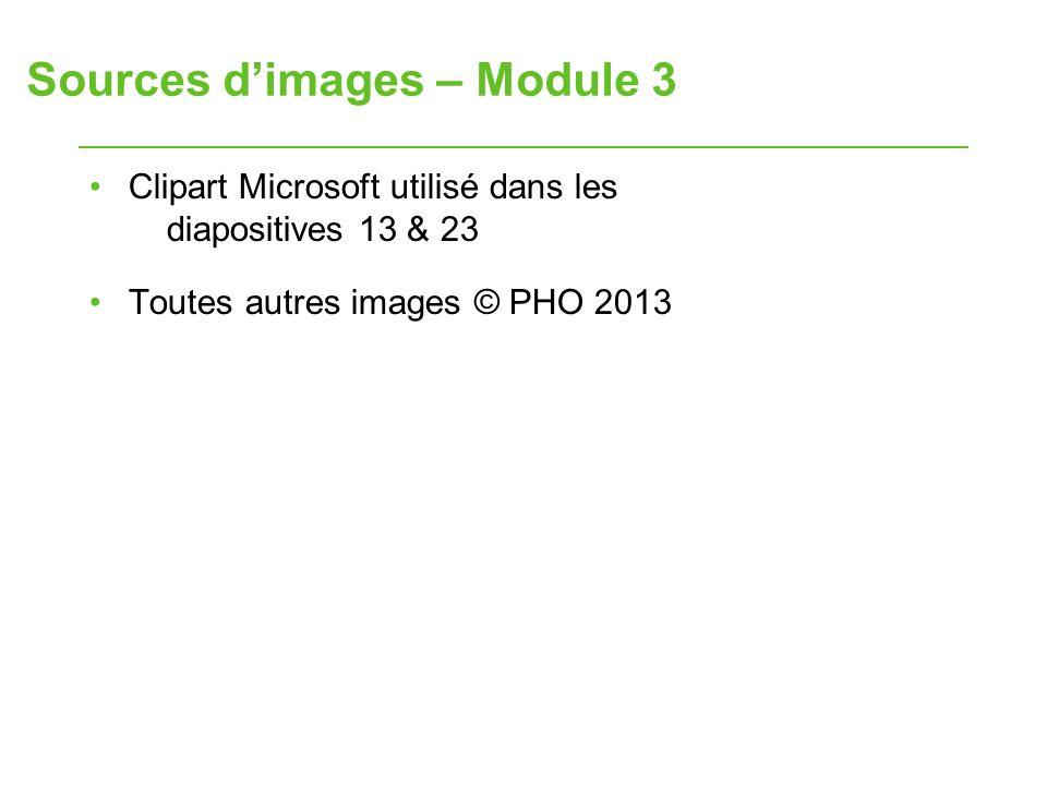 Sources dimages – Module 3 Clipart Microsoft utilisé dans les diapositives 13 & 23 Toutes autres images © PHO 2013