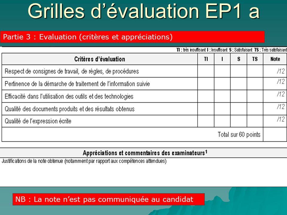 Partie 3 : Evaluation (critères et appréciations) NB : La note nest pas communiquée au candidat Grilles dévaluation EP1 a
