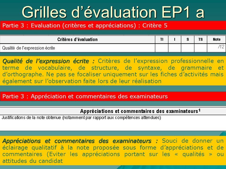 Grilles dévaluation EP1 a Partie 3 : Evaluation (critères et appréciations) : Critère 5 Qualité de lexpression écrite : Qualité de lexpression écrite : Critères de lexpression professionnelle en terme de vocabulaire, de structure, de syntaxe, de grammaire et dorthographe.