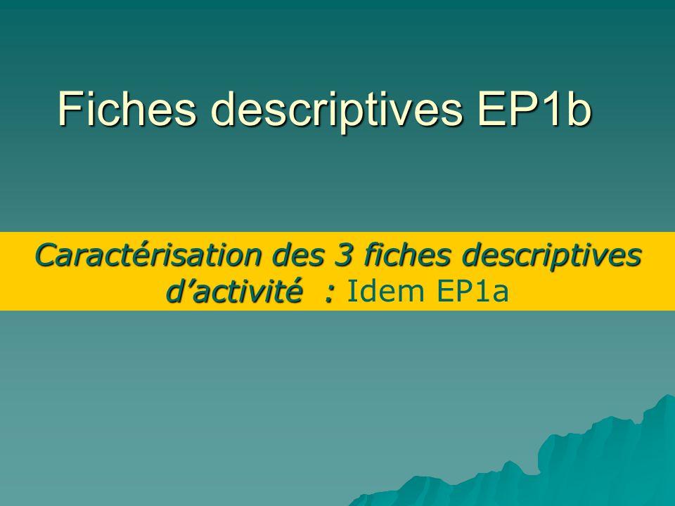 Fiches descriptives EP1b Caractérisation des 3 fiches descriptives dactivité : Caractérisation des 3 fiches descriptives dactivité : Idem EP1a