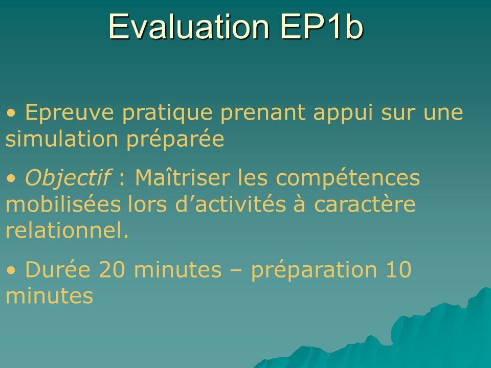 Evaluation EP1b Epreuve pratique prenant appui sur une simulation préparée Objectif : Maîtriser les compétences mobilisées lors dactivités à caractère relationnel.