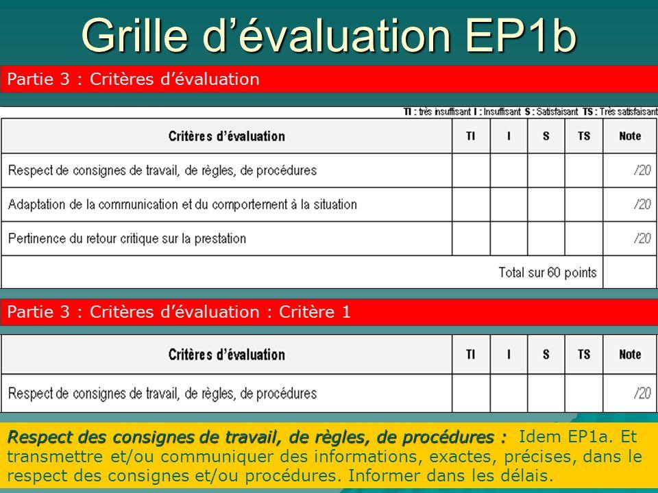 Grille dévaluation EP1b Partie 3 : Critères dévaluation Partie 3 : Critères dévaluation : Critère 1 Respect des consignes de travail, de règles, de procédures : Respect des consignes de travail, de règles, de procédures : Idem EP1a.