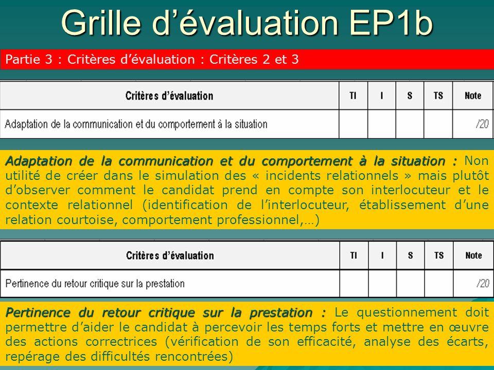 Grille dévaluation EP1b Partie 3 : Critères dévaluation : Critères 2 et 3 Adaptation de la communication et du comportement à la situation : Adaptatio