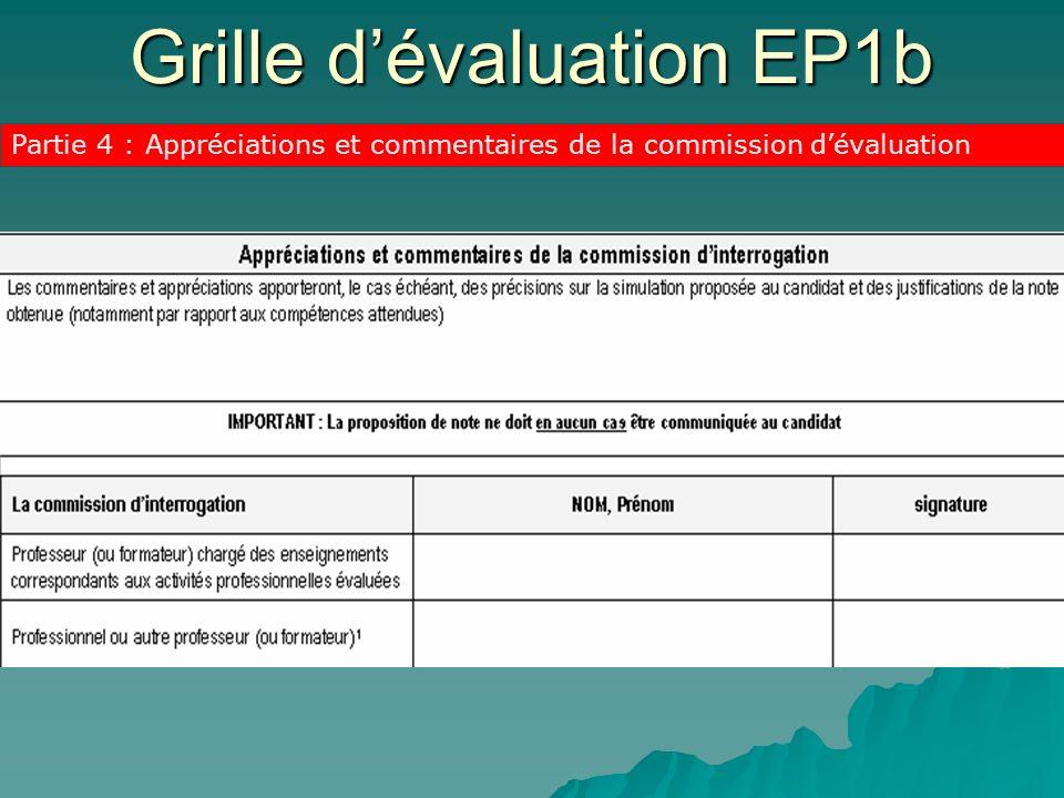 Grille dévaluation EP1b Partie 4 : Appréciations et commentaires de la commission dévaluation
