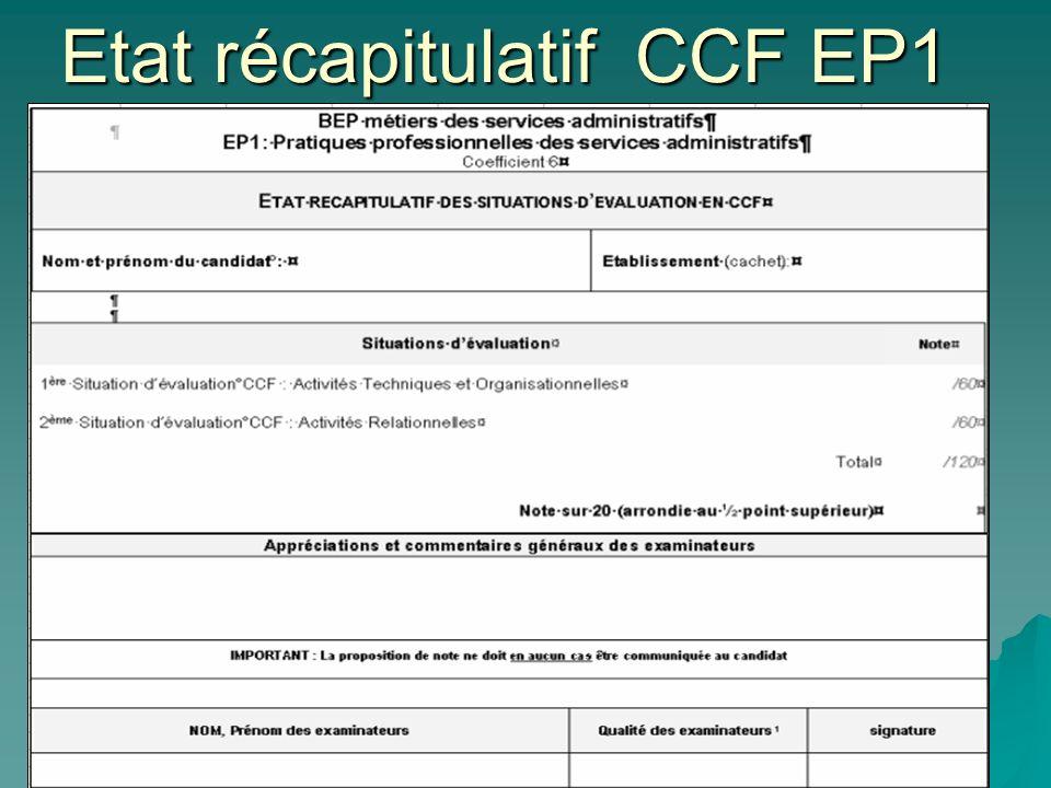 Etat récapitulatif CCF EP1