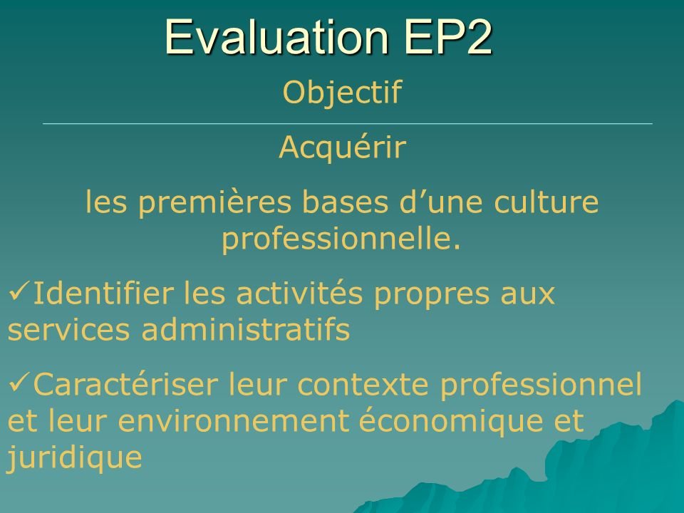 Evaluation EP2 Objectif Acquérir les premières bases dune culture professionnelle. Identifier les activités propres aux services administratifs Caract