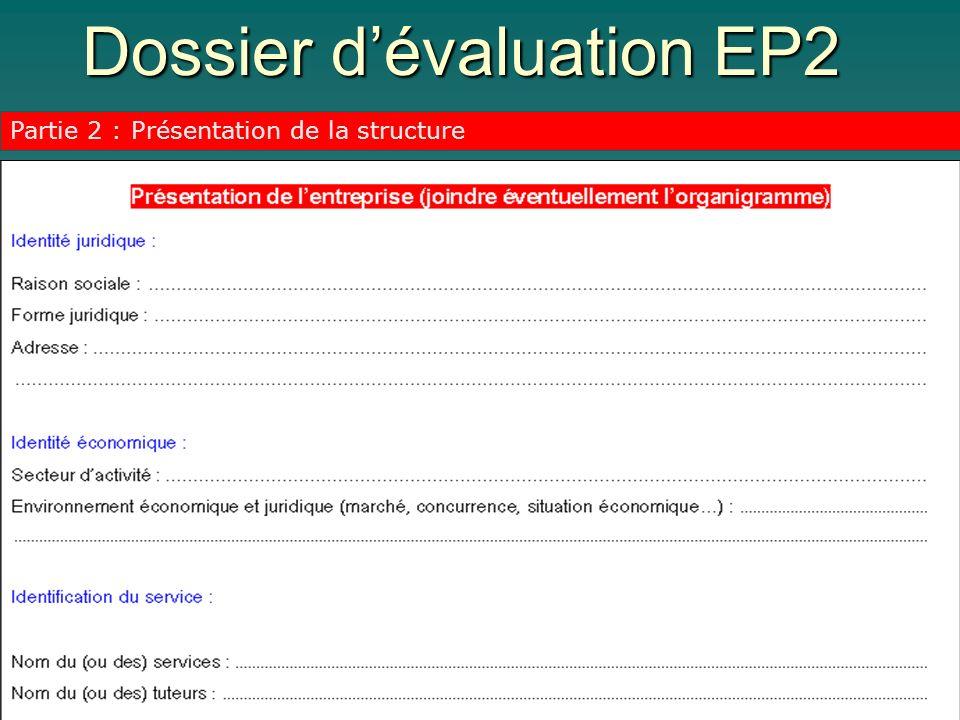 Dossier dévaluation EP2 Partie 2 : Présentation de la structure