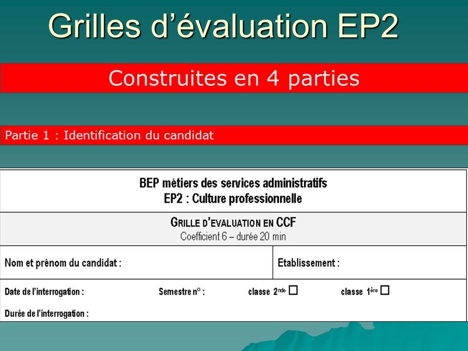 Grilles dévaluation EP2 Partie 1 : Identification du candidat Construites en 4 parties