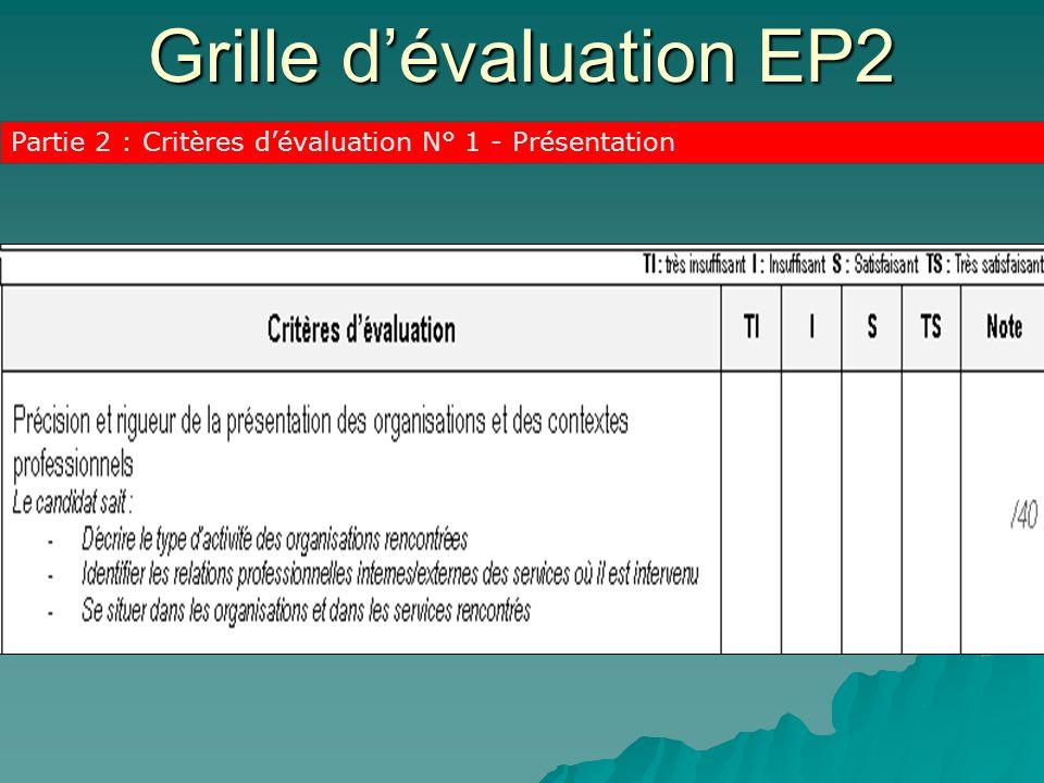 Grille dévaluation EP2 Partie 2 : Critères dévaluation N° 1 - Présentation