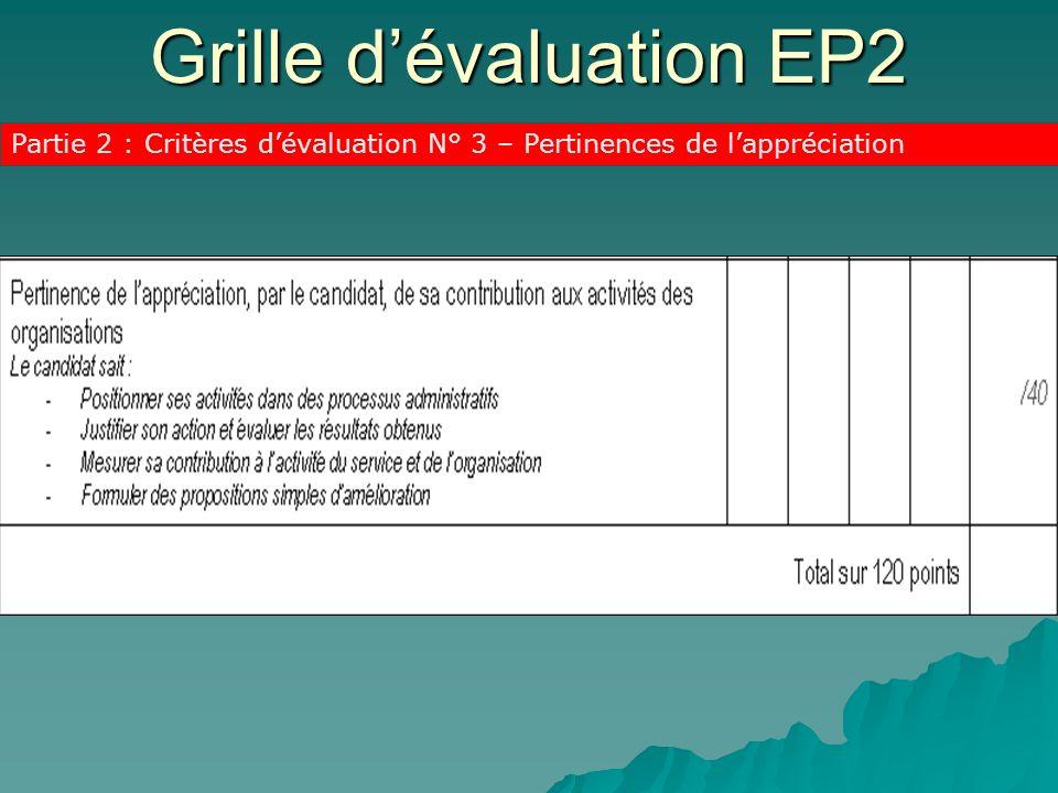 Grille dévaluation EP2 Partie 2 : Critères dévaluation N° 3 – Pertinences de lappréciation