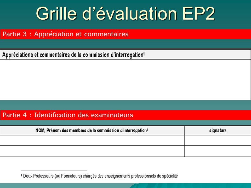 Grille dévaluation EP2 Partie 3 : Appréciation et commentaires Partie 4 : Identification des examinateurs