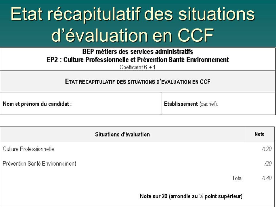 Etat récapitulatif des situations dévaluation en CCF