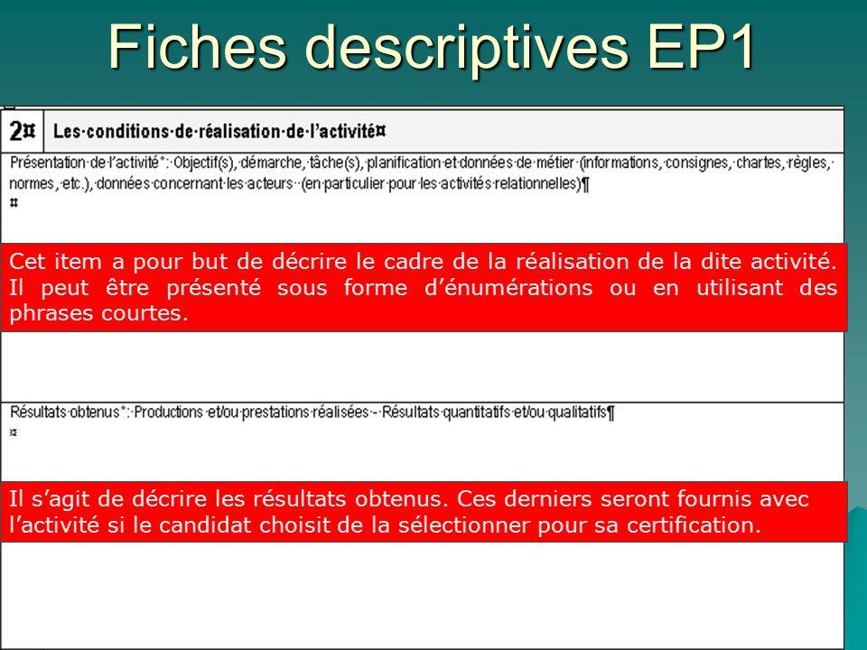 Fiches descriptives EP1 Cet item a pour but de décrire le cadre de la réalisation de la dite activité. Il peut être présenté sous forme dénumérations