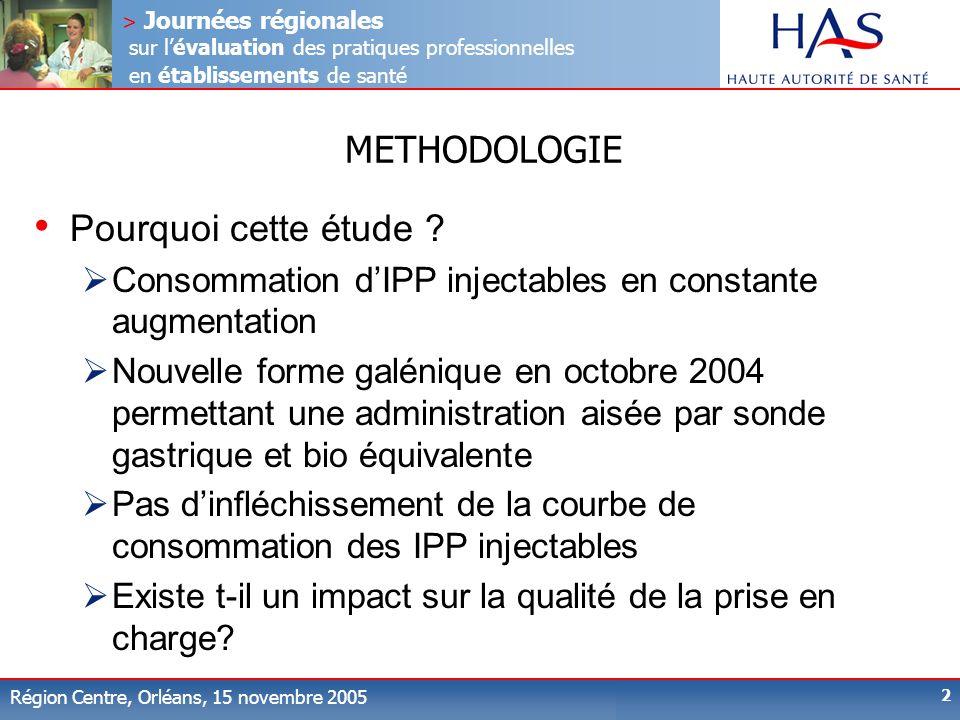 > Journées régionales sur lévaluation des pratiques professionnelles en établissements de santé Région Centre, Orléans, 15 novembre 2005 2 METHODOLOGIE Pourquoi cette étude .