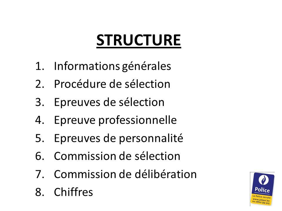 STRUCTURE 1.Informations générales 2.Procédure de sélection 3.Epreuves de sélection 4.Epreuve professionnelle 5.Epreuves de personnalité 6.Commission