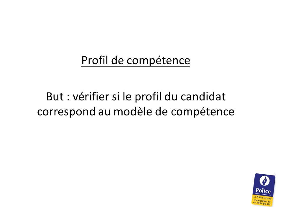 Profil de compétence But : vérifier si le profil du candidat correspond au modèle de compétence