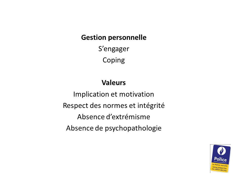 Gestion personnelle Sengager Coping Valeurs Implication et motivation Respect des normes et intégrité Absence dextrémisme Absence de psychopathologie