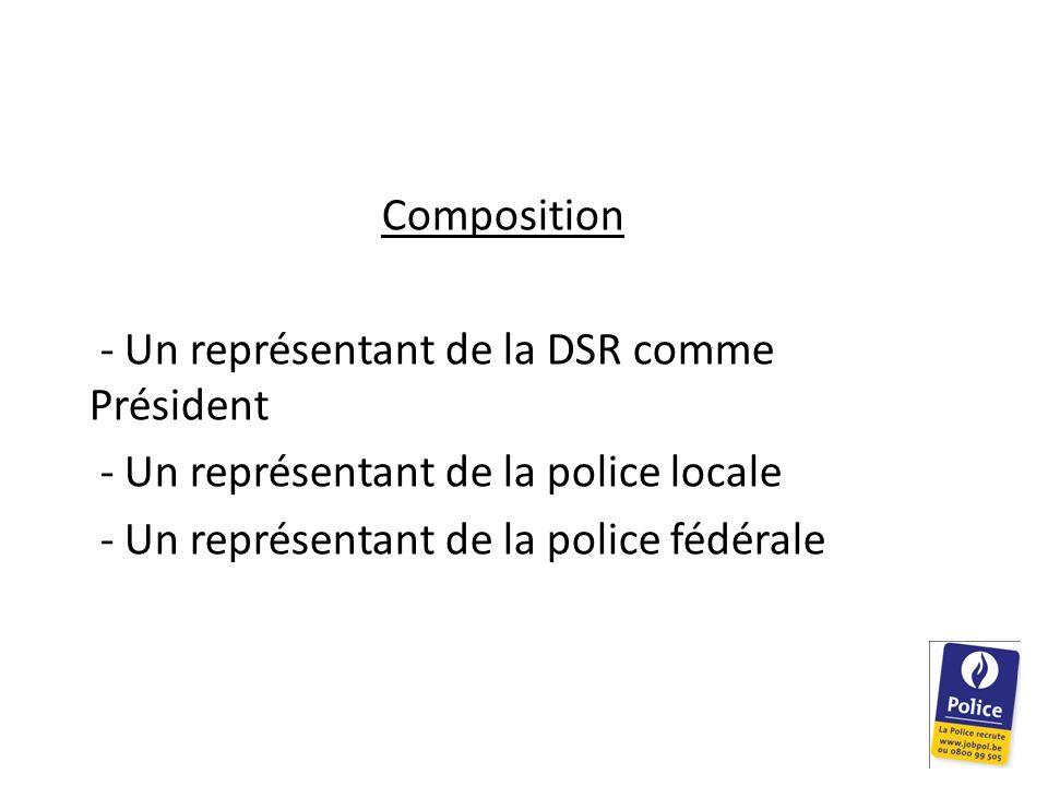 Composition - Un représentant de la DSR comme Président - Un représentant de la police locale - Un représentant de la police fédérale