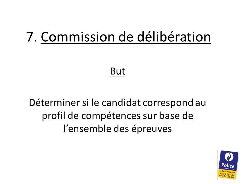 7. Commission de délibération But Déterminer si le candidat correspond au profil de compétences sur base de lensemble des épreuves