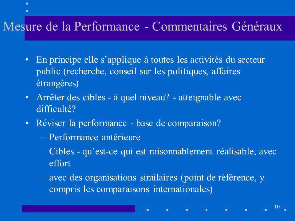10 Mesure de la Performance - Commentaires Généraux En principe elle sapplique à toutes les activités du secteur public (recherche, conseil sur les politiques, affaires étrangères) Arrêter des cibles - à quel niveau.
