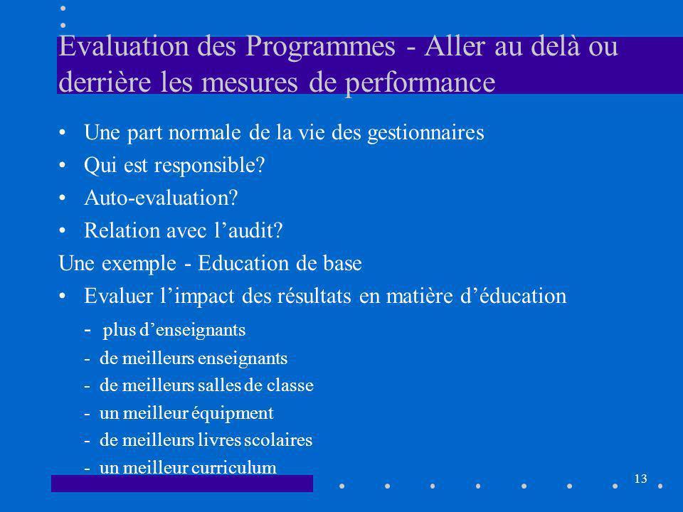 13 Evaluation des Programmes - Aller au delà ou derrière les mesures de performance Une part normale de la vie des gestionnaires Qui est responsible.