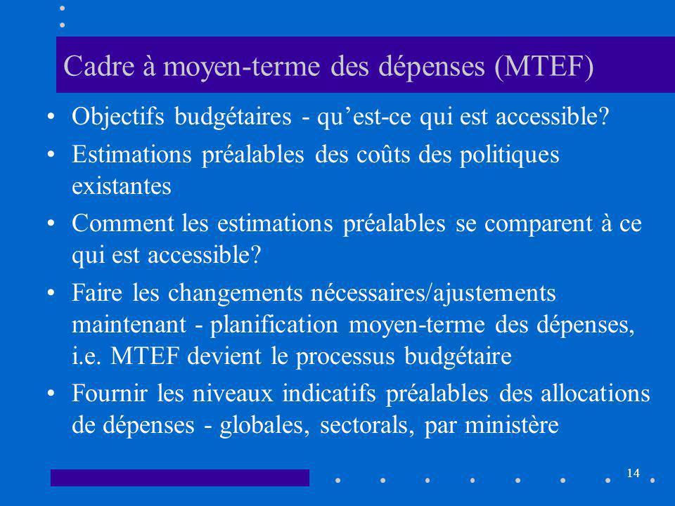 14 Cadre à moyen-terme des dépenses (MTEF) Objectifs budgétaires - quest-ce qui est accessible.