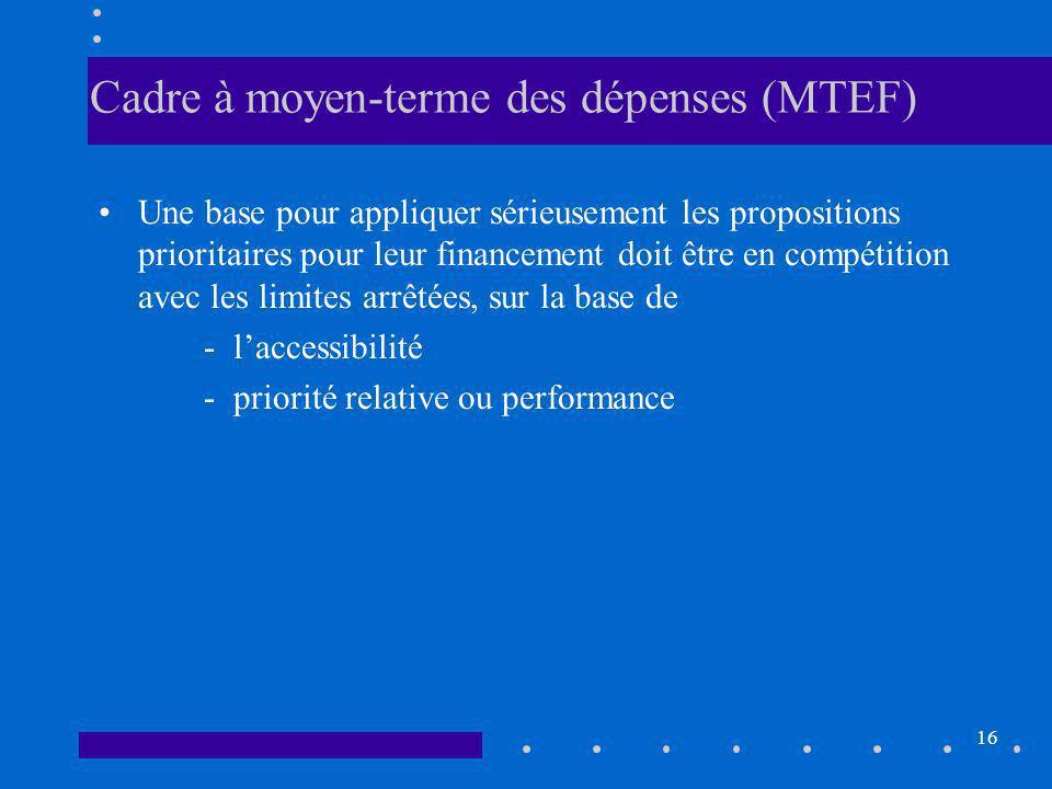 16 Cadre à moyen-terme des dépenses (MTEF) Une base pour appliquer sérieusement les propositions prioritaires pour leur financement doit être en compétition avec les limites arrêtées, sur la base de - laccessibilité - priorité relative ou performance