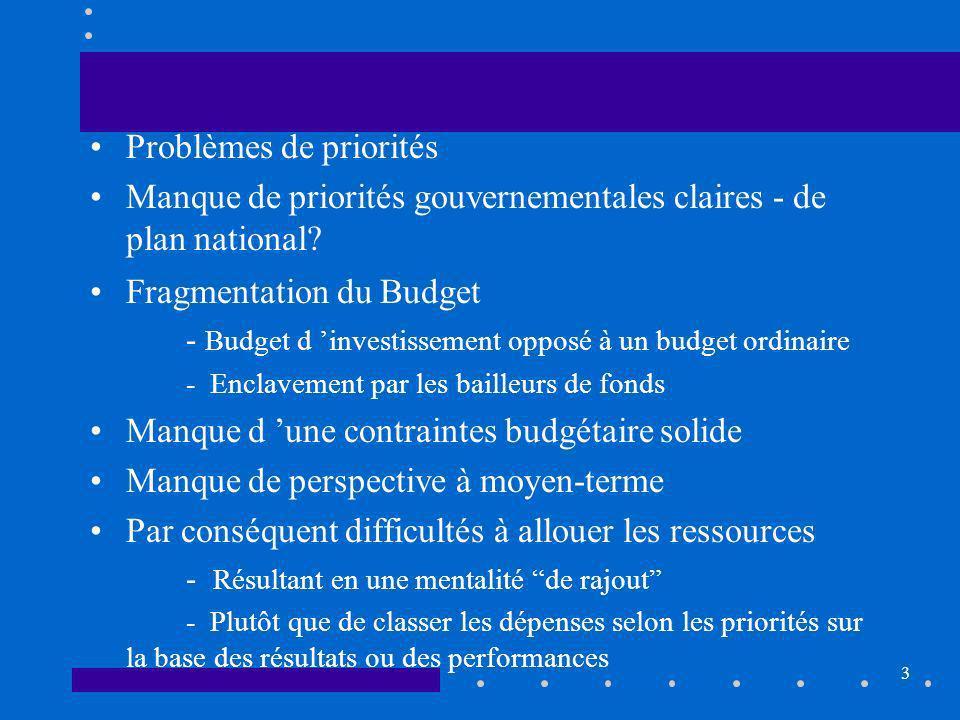3 Problèmes de priorités Manque de priorités gouvernementales claires - de plan national.
