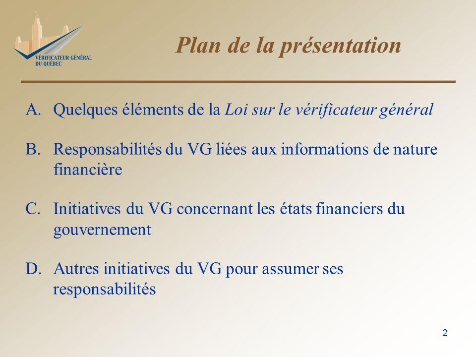3 A.Quelques éléments de la Loi sur le vérificateur général Art.