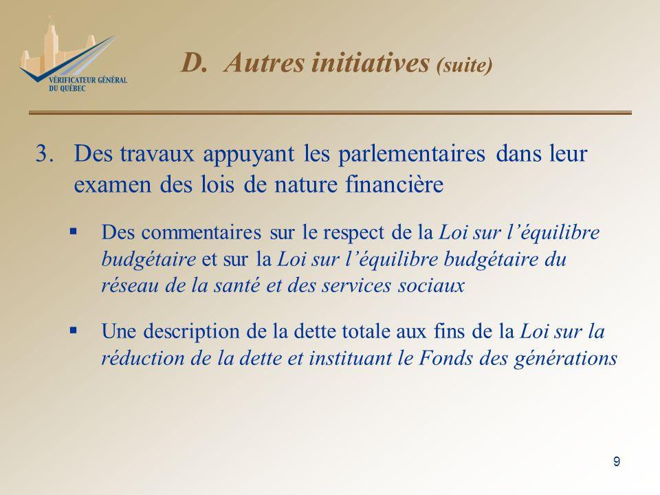 9 D. Autres initiatives (suite) 3.Des travaux appuyant les parlementaires dans leur examen des lois de nature financière Des commentaires sur le respe
