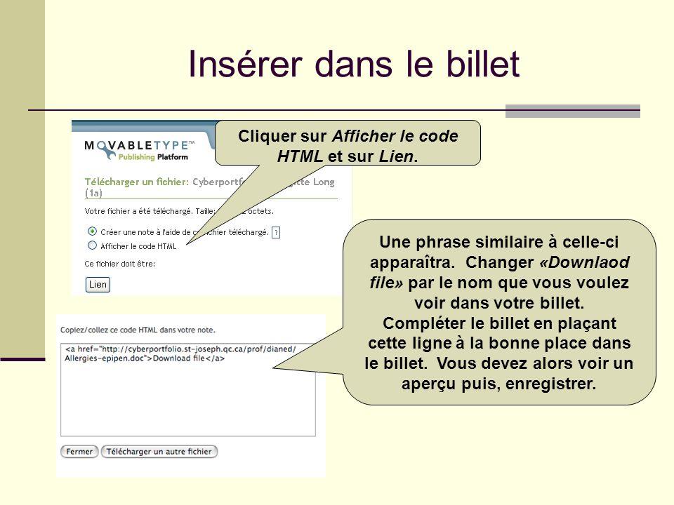 Insérer dans le billet Cliquer sur Afficher le code HTML et sur Lien. Une phrase similaire à celle-ci apparaîtra. Changer «Downlaod file» par le nom q