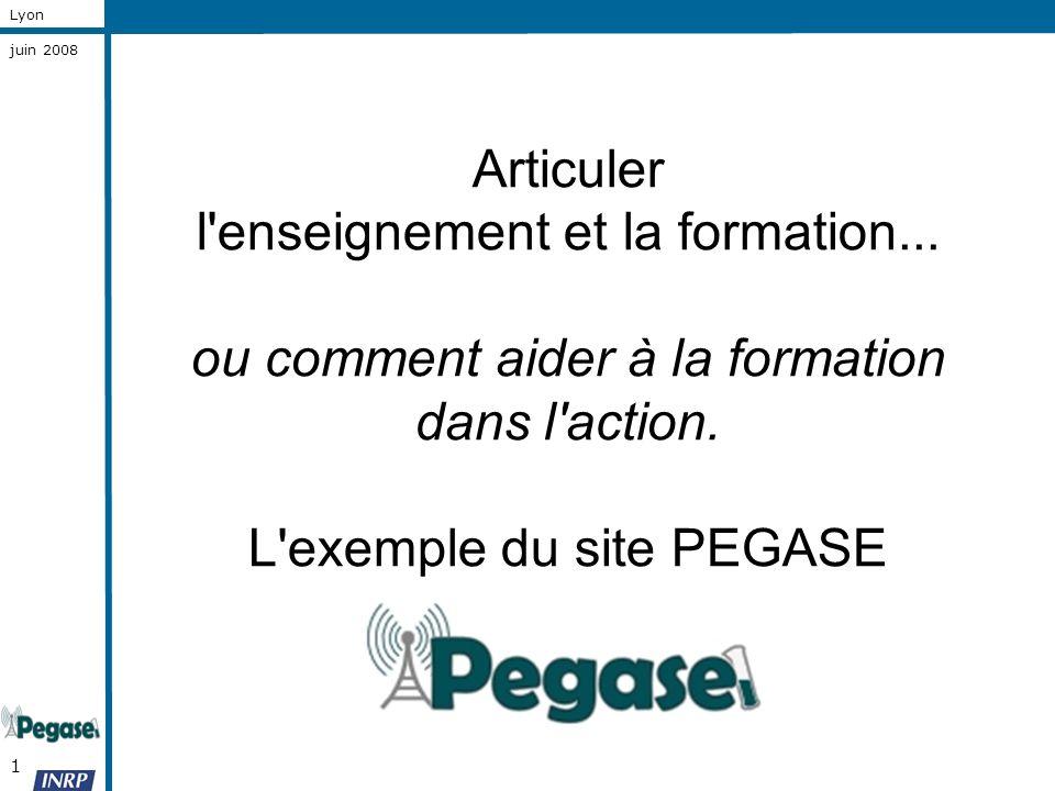 1 Lyon juin 2008 Articuler l'enseignement et la formation... ou comment aider à la formation dans l'action. L'exemple du site PEGASE