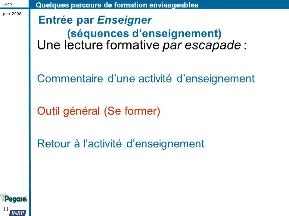 11 Lyon juin 2008 Entrée par Enseigner (séquences denseignement) Une lecture formative par escapade : Commentaire dune activité denseignement Outil gé