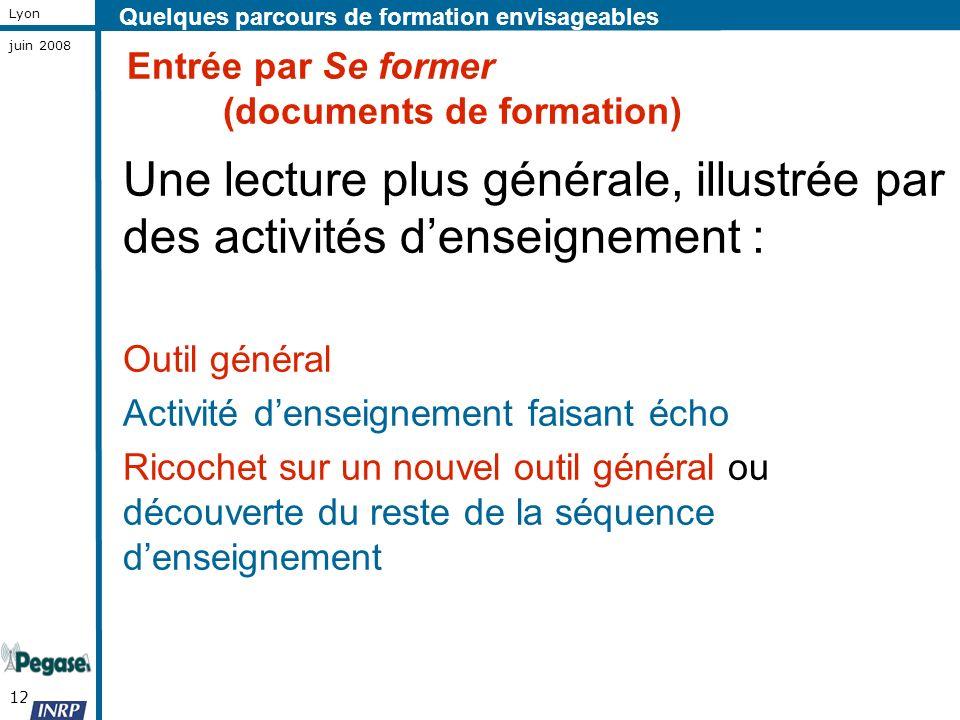12 Lyon juin 2008 Entrée par Se former (documents de formation) Une lecture plus générale, illustrée par des activités denseignement : Outil général A