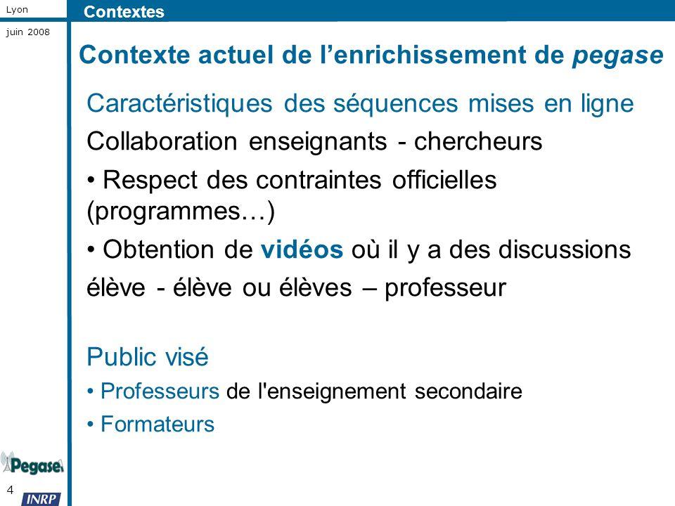 4 Lyon juin 2008 Caractéristiques des séquences mises en ligne Collaboration enseignants - chercheurs Respect des contraintes officielles (programmes…
