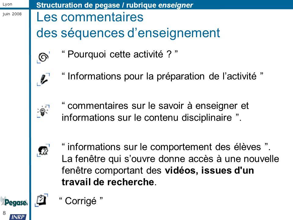 8 Lyon juin 2008 Les commentaires des séquences denseignement Pourquoi cette activité ? Corrigé commentaires sur le savoir à enseigner et informations