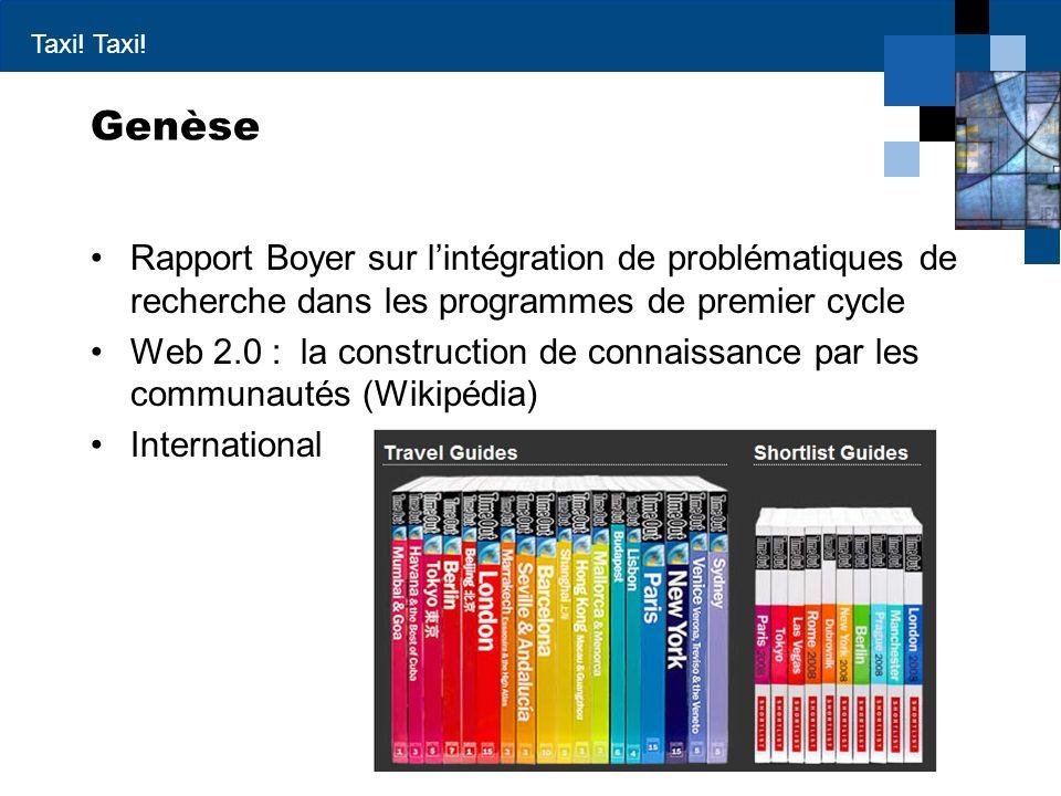 Taxi! Genèse Rapport Boyer sur lintégration de problématiques de recherche dans les programmes de premier cycle Web 2.0 : la construction de connaissa