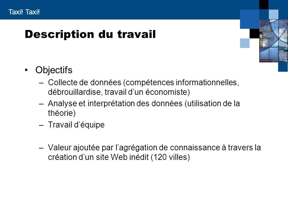 Taxi! Description du travail Objectifs –Collecte de données (compétences informationnelles, débrouillardise, travail dun économiste) –Analyse et inter