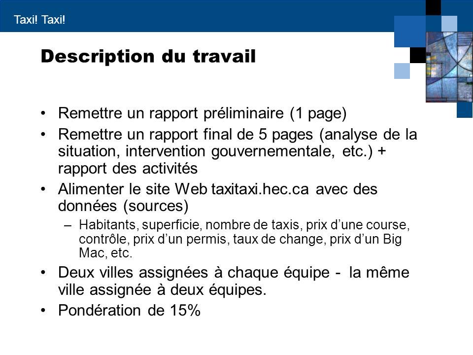 Taxi! Description du travail Remettre un rapport préliminaire (1 page) Remettre un rapport final de 5 pages (analyse de la situation, intervention gou