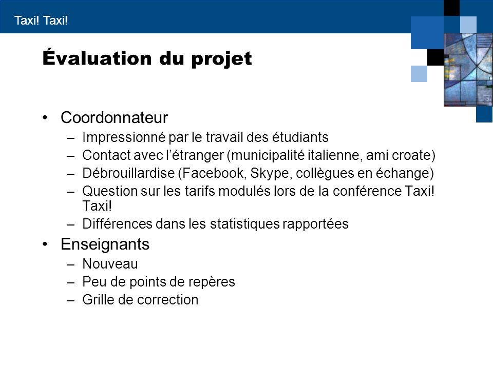 Taxi! Évaluation du projet Coordonnateur –Impressionné par le travail des étudiants –Contact avec létranger (municipalité italienne, ami croate) –Débr