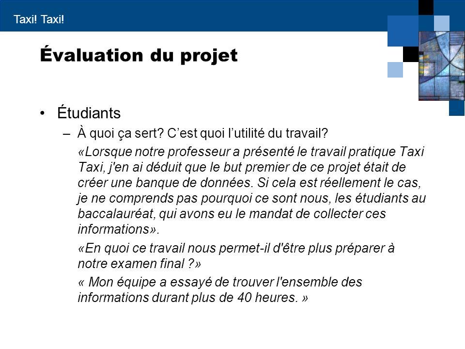 Taxi! Évaluation du projet Étudiants –À quoi ça sert? Cest quoi lutilité du travail? «Lorsque notre professeur a présenté le travail pratique Taxi Tax