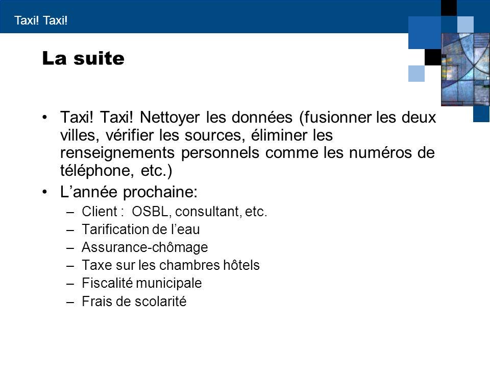 Taxi.La suite Taxi. Taxi.
