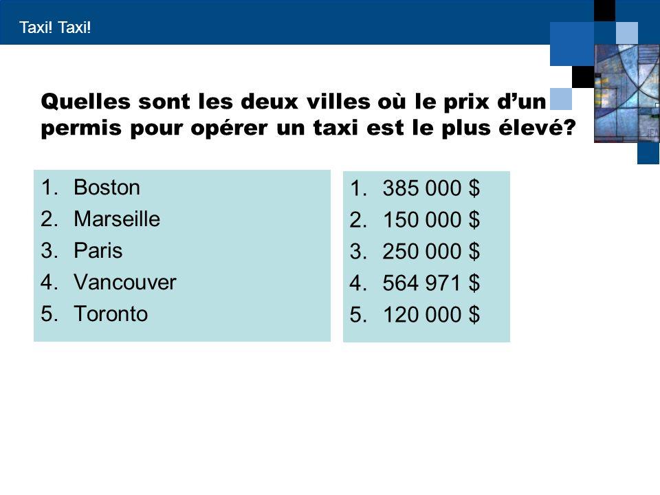 Taxi! Quelles sont les deux villes où le prix dun permis pour opérer un taxi est le plus élevé? 1.Boston 2.Marseille 3.Paris 4.Vancouver 5.Toronto 1.3
