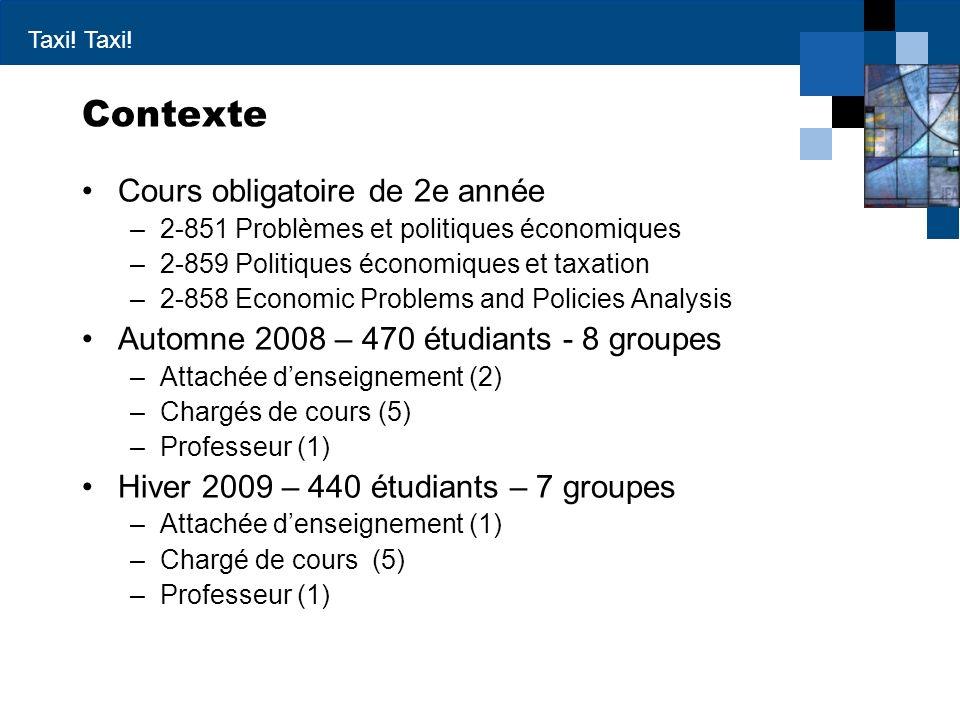 Taxi! Contexte Cours obligatoire de 2e année –2-851 Problèmes et politiques économiques –2-859 Politiques économiques et taxation –2-858 Economic Prob