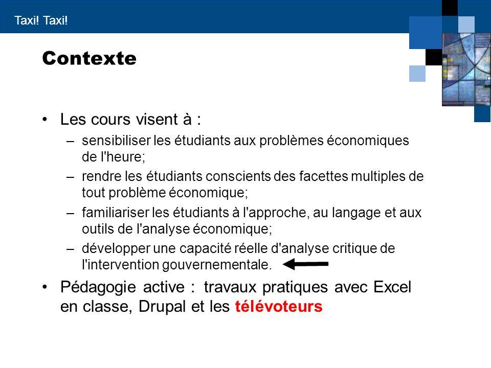 Taxi! Contexte Les cours visent à : –sensibiliser les étudiants aux problèmes économiques de l'heure; –rendre les étudiants conscients des facettes mu