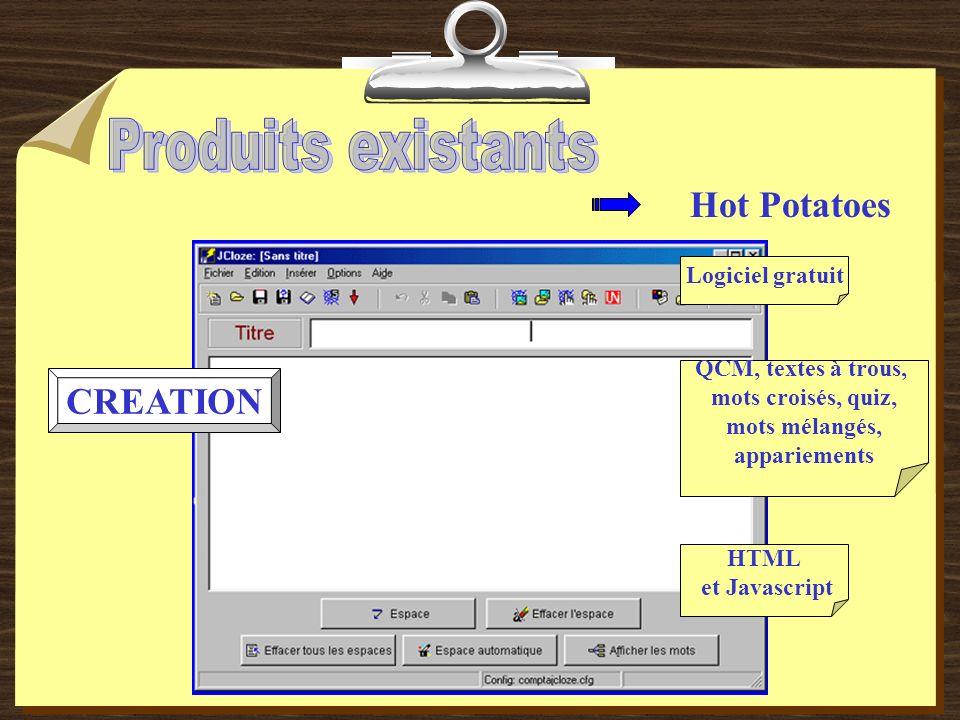Hot Potatoes CREATION QCM, textes à trous, mots croisés, quiz, mots mélangés, appariements Logiciel gratuit HTML et Javascript